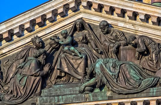 Saint-Petersburg, Russia - August 12, 2016: Statues and monuments of St. Petersburg. The pride of sculptors and stone and metal processing technology. Paintings and art in the museum. Statues and art.