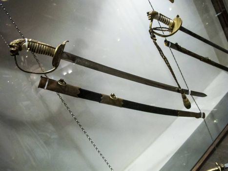 St Petersburg, Russia - June 14, 2018: Museum of Blade Weapons. Exhibits of swords, swords and daggers. Swords, machetes and other cold steel.