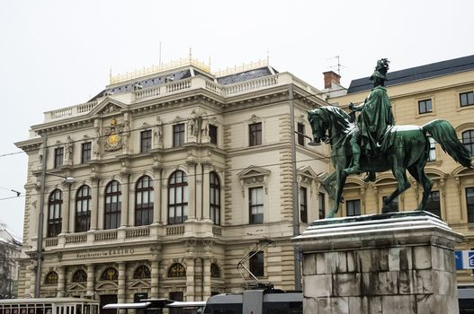 Vienna, Austria - January 20, 2014: Sights of Vienna, buildings and streets of the city of Vienna. Antique buildings of temples and cathedrals in the Gothic and Byzantine style.