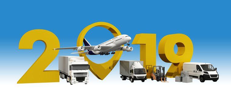 3D illustration, world wide cargo transport concept.