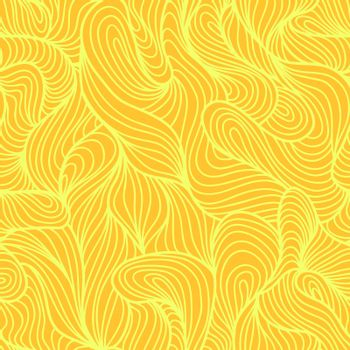 Seamless abstract light hand drawn pattern, waves background. Yarn curly pattern yellow color
