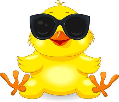 Little yellow chicken with sunglasses. Chick on a white background. Cartoon chick.