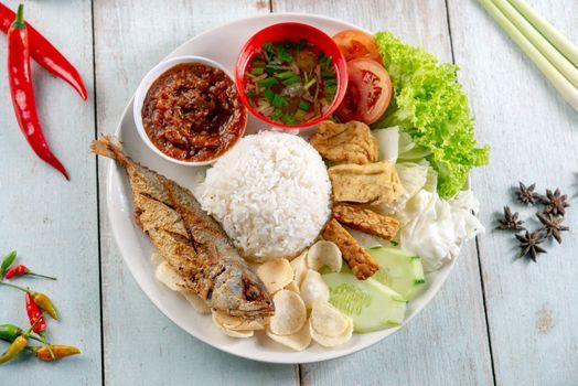 Fried mackerel fish rice