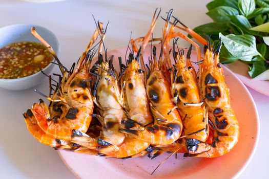 Fresh shrimp burned