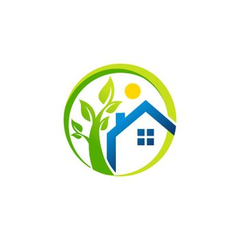 circle green plants and blue home logo, global real estate symbol design, circle green tree and blue house icon vector