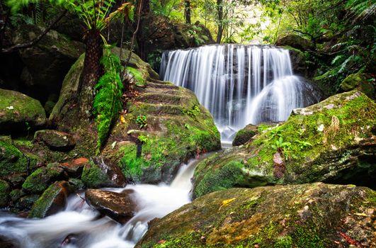 Tranquil lush waterfall in Leura