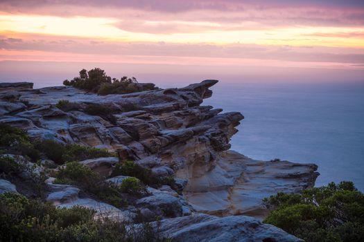Dawn skies cliff coast Royal National Park