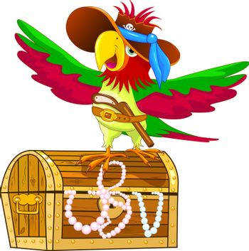 A parrot with a hat and a gun in his belt. A pirate parrot is standing on a treasure chest.