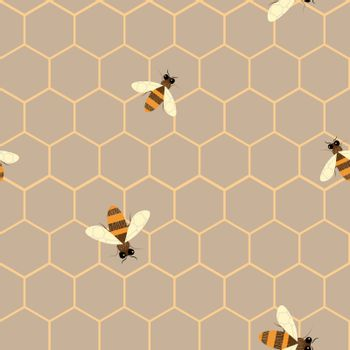 Vector Seamless pattern with bee and honeycomb . Modern abstract honey design for paper, fabric, interior decor and other users.