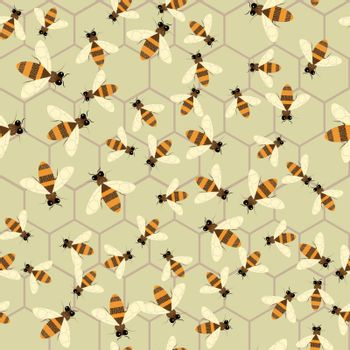 Abstract honey print. Vector seamless pattern with bee and honeycomb