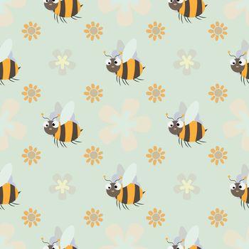 honey print. Cute cartoon Bee and flower Seamless pattern