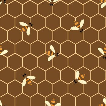 Vector seamless pattern with bee and honeycomb