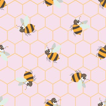 Vector seamless pattern with Cute cartoon Bee and honeycomb