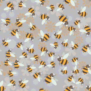 Sweet honey print. Cute cartoon Bee and honeycomb seamless pattern