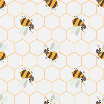 Abstract honey print. seamless pattern with Cute cartoon Bee and honeycomb