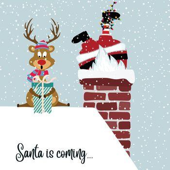 Santa and reindeer. Flat design.