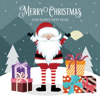 Christmas card with Santa and gift box. Flat design. Vector