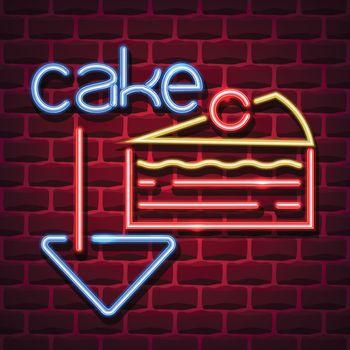cake neon advertising sign. Vector