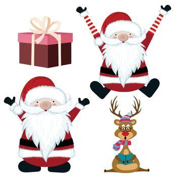 Christmas items collection, santa, reindeer and gift box. Flat image. Vector