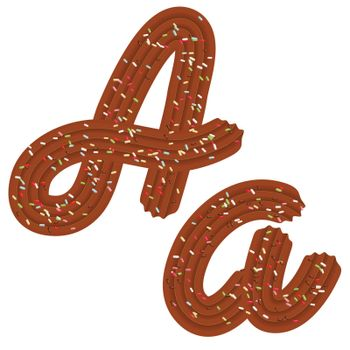 Tempting tipography. Font design. 3D letter A of the Chocolate cream and candy