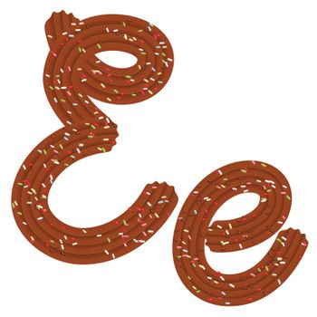 Tempting tipography. Font design. Icing letter. Sweet 3D letter E of the chocolate cream and candy. Vector