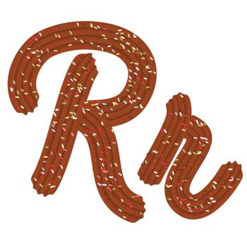 Tempting tipography. Font design. Icing letter. Sweet 3D letter R of the chocolate cream and candy. Vector