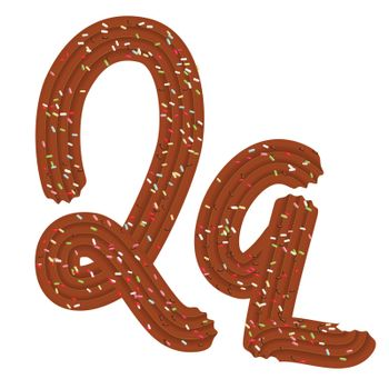 Tempting tipography. Font design. Icing letter. Sweet 3D letter Q of the chocolate cream and candy. Vector