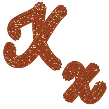 Tempting typography. Font design. 3D letter X of the Chocolate cream and candy