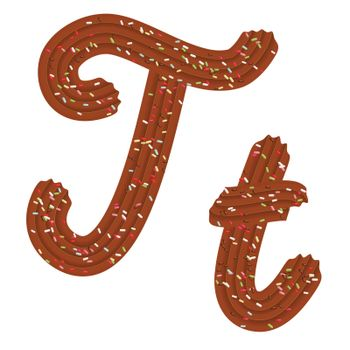 Tempting tipography. Font design. Icing letter. Sweet 3D letter T of the chocolate cream and candy. Vector