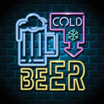 cold beer neon advertising sign. Vector