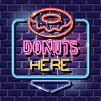 donuts neon advertising sign. vector