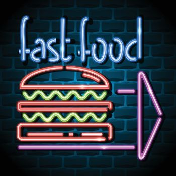 fast food neon advertising sign. Vector