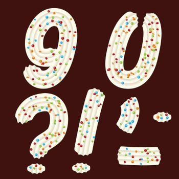 Tempting tipography. Font design. 3D numbers nine, zero and punc