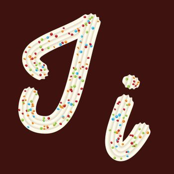 Tempting tipography. Font design. Icing letter. Sweet 3D letter I of the whipped cream and candy. Vector