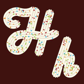 Tempting tipography. Font design. Icing letter. Sweet 3D letter H of the whipped cream and candy. Vector