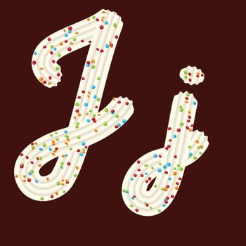 Tempting tipography. Font design. Icing letter. Sweet 3D letter J of the whipped cream and candy. Vector