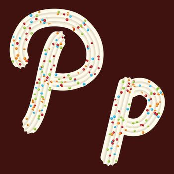 Tempting tipography. Font design. Icing letter. Sweet 3D letter P of the whipped cream and candy. Vector