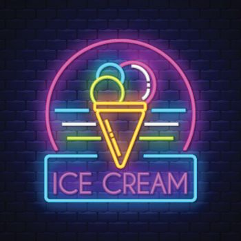 Ice cream- Neon Sign Vector. Ice cream - Badge in neon style on brick wall background, design element, light banner, announcement neon signboard, night advensing. Vector Illustration