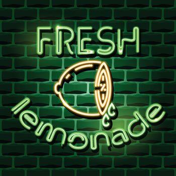 fresh lemonade neon advertising sign. Vector