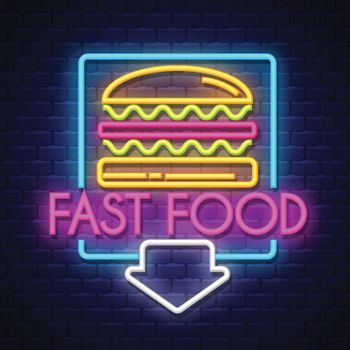Fast Food- Neon Sign Vector. Fast Food- Badge in neon style on brick wall background, design element, light banner, announcement neon signboard, night advensing. Vector Illustration