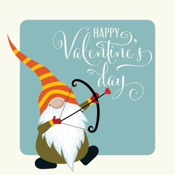 Gnome with cupid bow. Valentine's day card