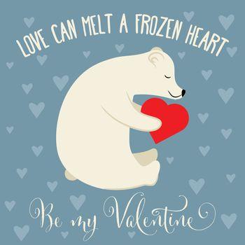 Valentine's day card with polar bear