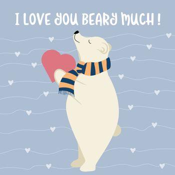 Funny Valentine's day card with polar bear