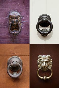 Ancient door knockers collection.