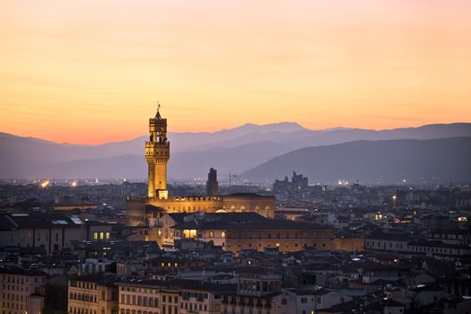Ancient Florence cityscape and Palazzo Vecchio sunset view, Tuscany region of Italy