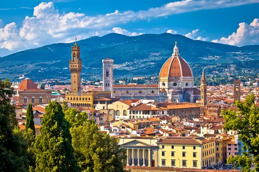 Florence rooftops and cathedral di Santa Maria del Fiore or Duom