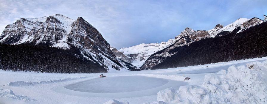 Ice Rink Lake Louise Chateau winter Alberta Canada