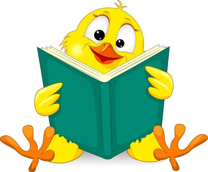 Little yellow chicken with a book. Cartoon chick on a white background.