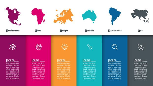 Continental infographics information on vector graphic art.