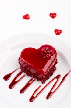 Heart shaped red velvet cake